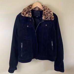 JouJou black corduroy jacket L detachable collar